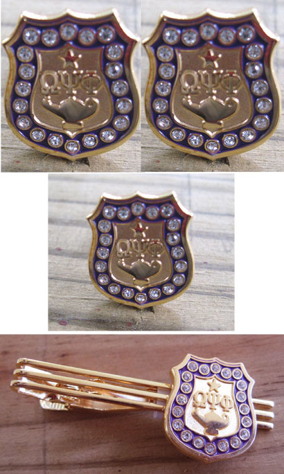 Omega Psi Phi Fraternity Silver Crystals Lapel Pin Amp Cufflinks