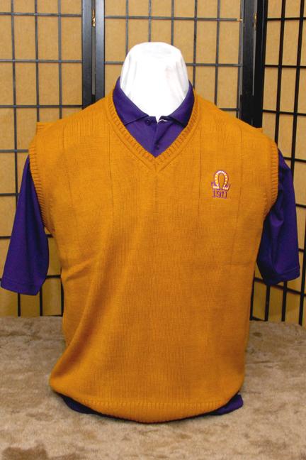 Omega Psi Phi Fraternity Gold Sweater Vest