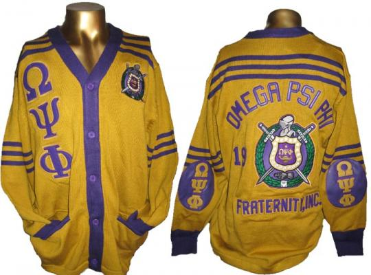 Omega Gold Cardigan Sweater W Leather Letters Elbow Patches