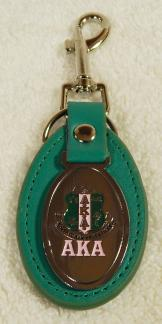 AKA Key Chain - leather green